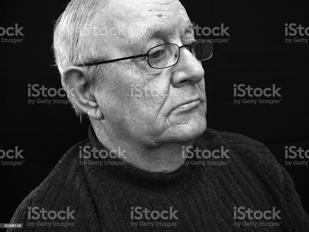 Senior Citizen Man - Black and White royalty-free stock photo