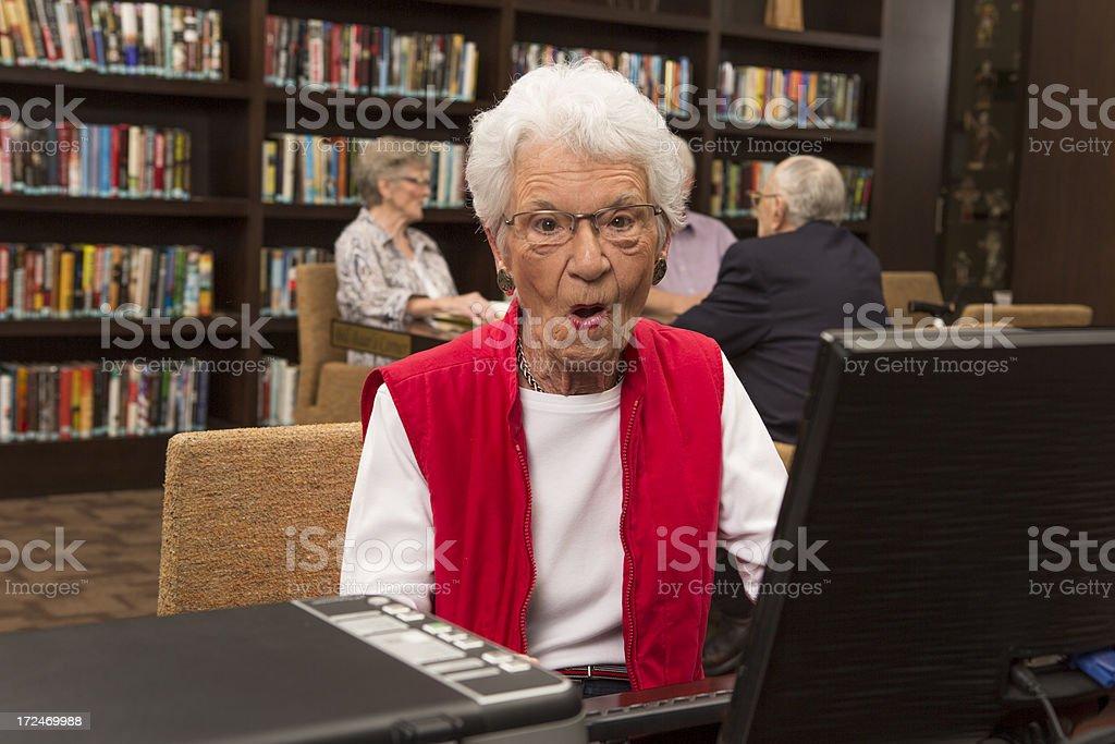 Senior Citizen woman Using Computer royalty-free stock photo