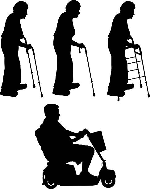 senior citizens - people stencils silhouette stock photos and pictures