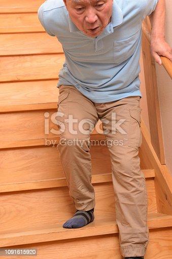 181879982istockphoto Senior climbs up stairs 1091615920