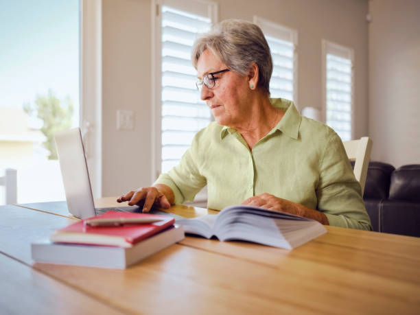 Senior Computer Learning stock photo