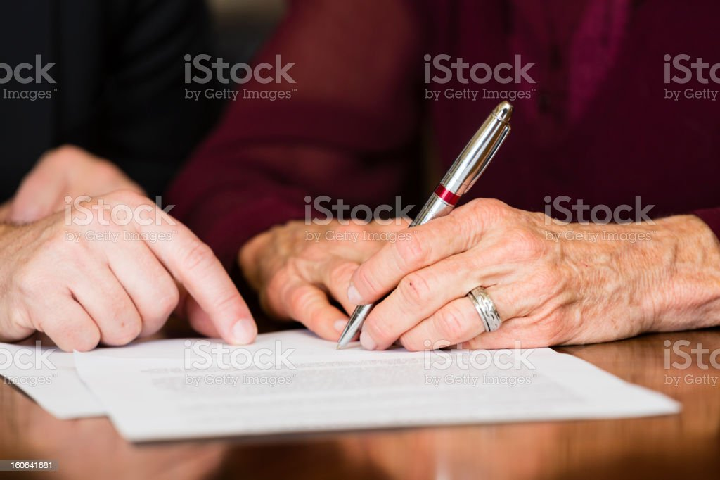 Senior Contract stock photo
