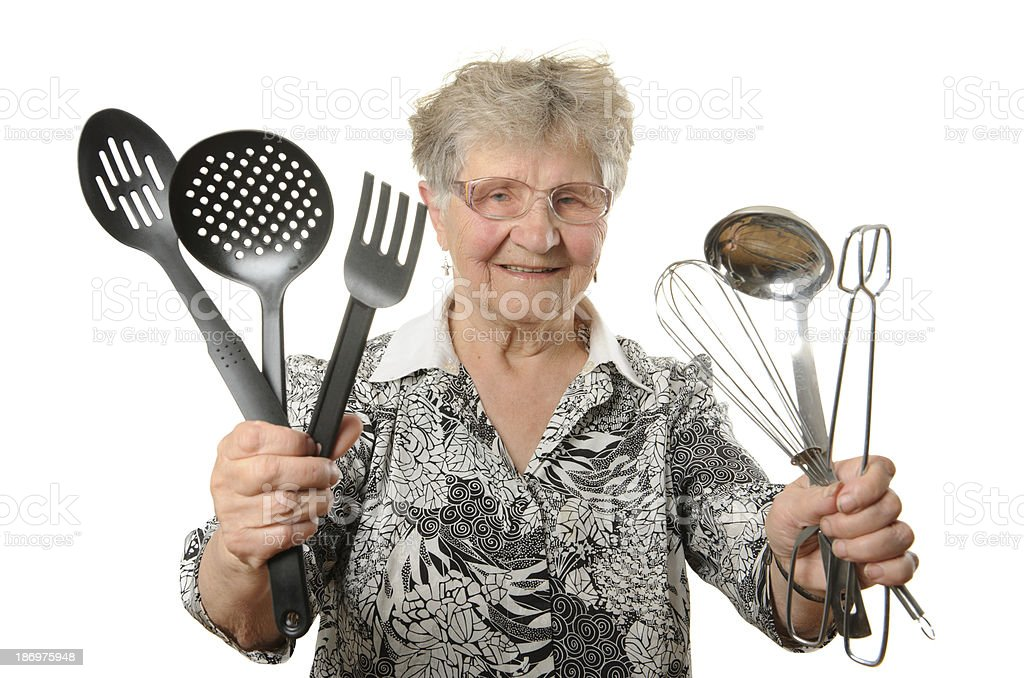 Senior cook isolated on white royalty-free stock photo