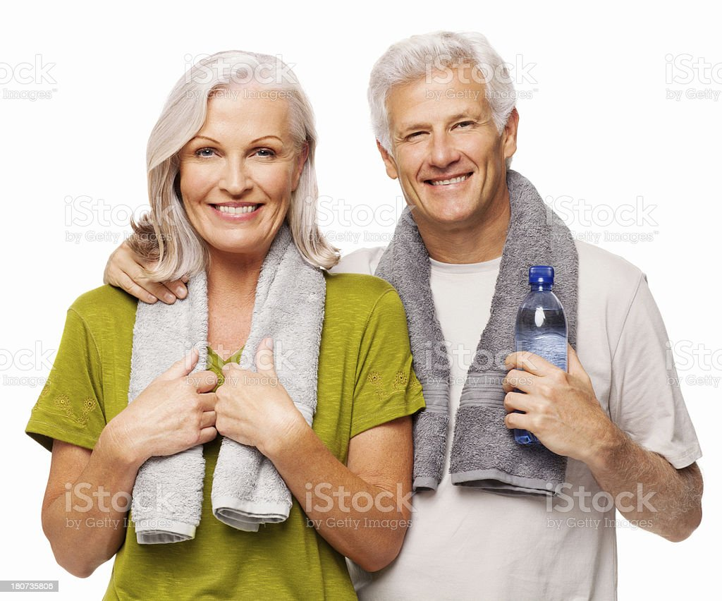 Senior Couple After Workout - Isolated royalty-free stock photo