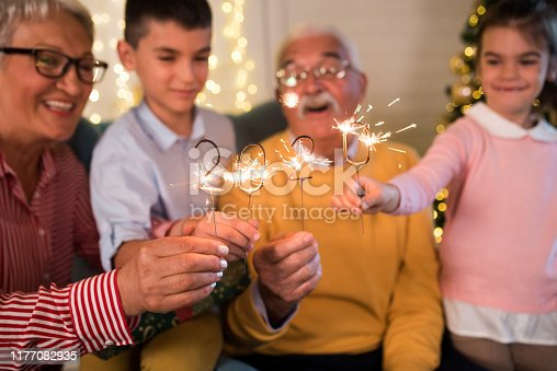 istock Senior couple and their grandchildren celebrating new year's eve together 1177082935