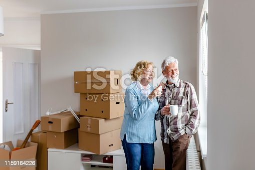 Happy Senior Couple With Cardboard Boxes in New House at Moving Day Looking Through the Window