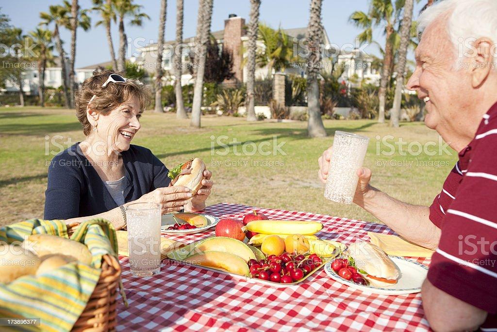 Senior Couple at Park royalty-free stock photo
