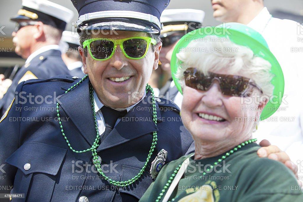 Senior Couple at St. Patrick's Day Parade stock photo