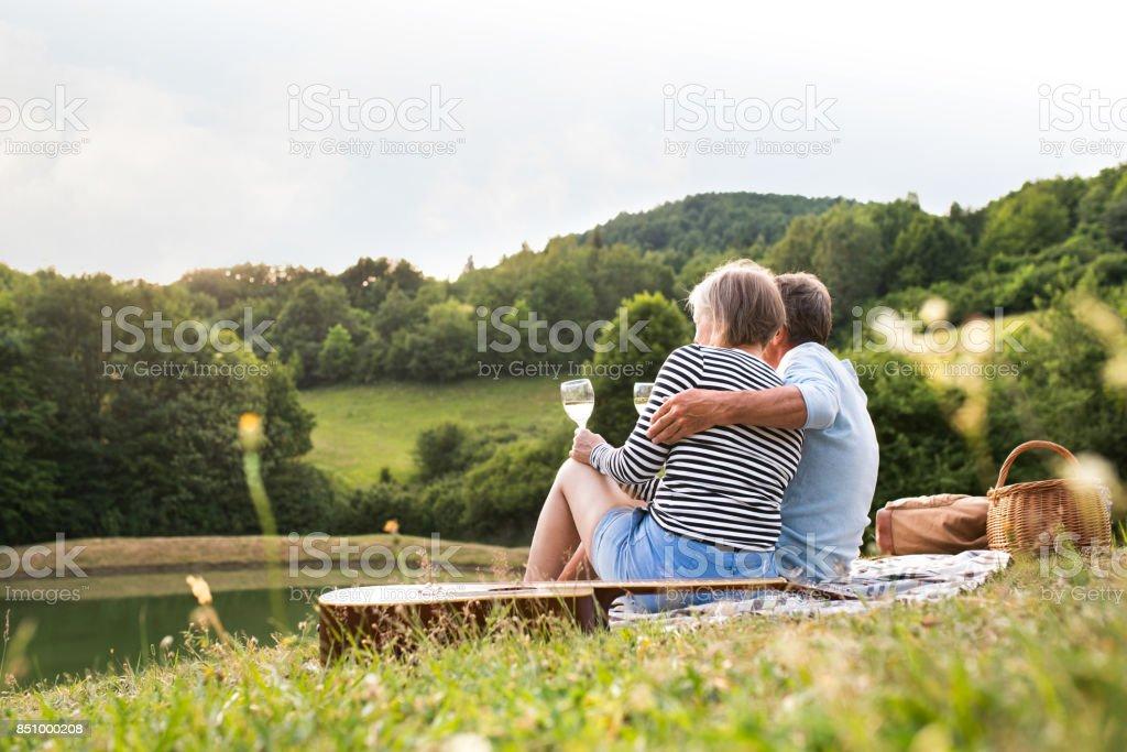 Senior couple at the lake having a picnic stock photo