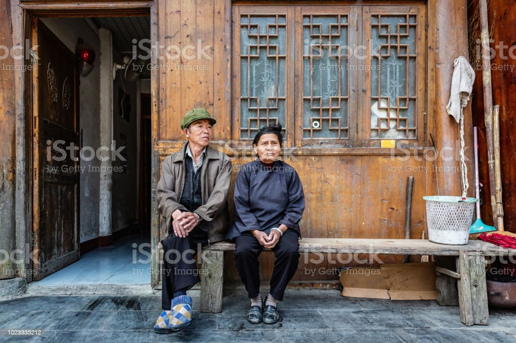 Senior Couple at their rural Home China Real People Portrait stock photo