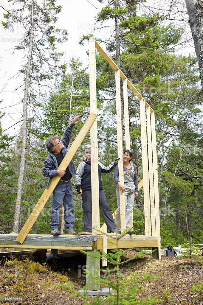 Senior Couple Build Their Dream Cottage in Nova Scotia, Canada. royalty-free stock photo