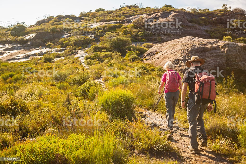 Senior Couple Bushwalking in Spectacular Blue Mountains Australian Landscape stock photo