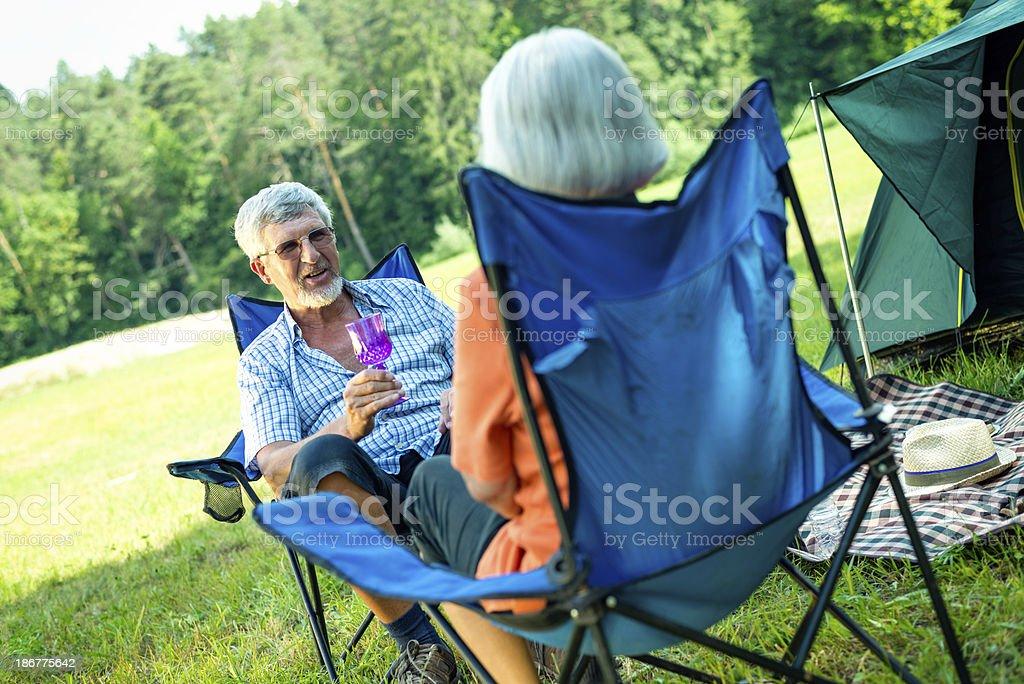 Senior couple camping royalty-free stock photo