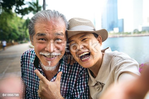 istock Senior couple candid moments together having a vacation 641866798