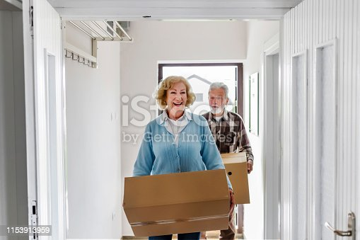 Senior Couple Carrying Boxes Into New Home on Moving Day. Elderly Couple Is Having Fun With Cardboard Boxes Into New Home Together