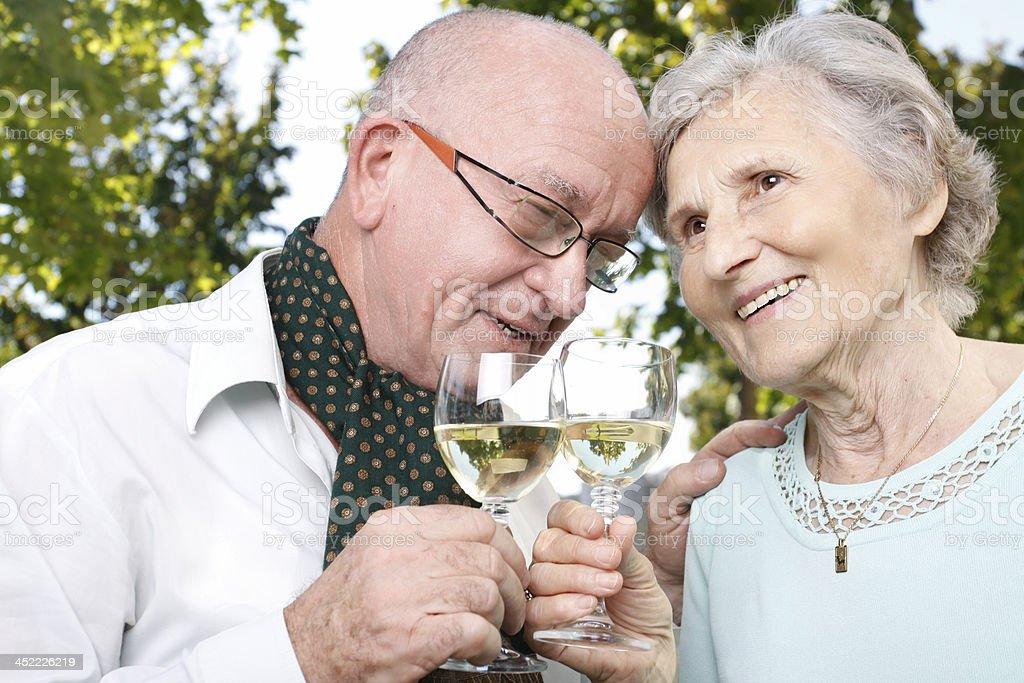 Senior couple celebrates 50 year of marriage stock photo