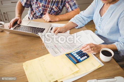 Senior couple checking their bills at home