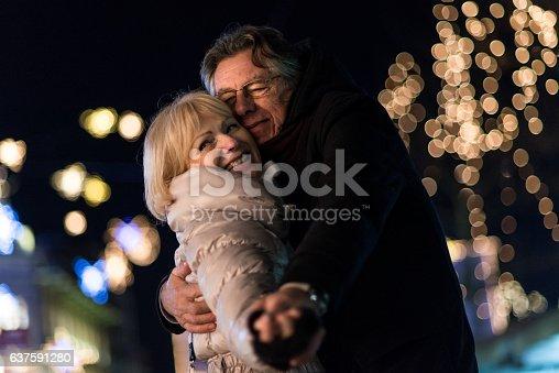 Senior couple celebrate wedding anniversary.