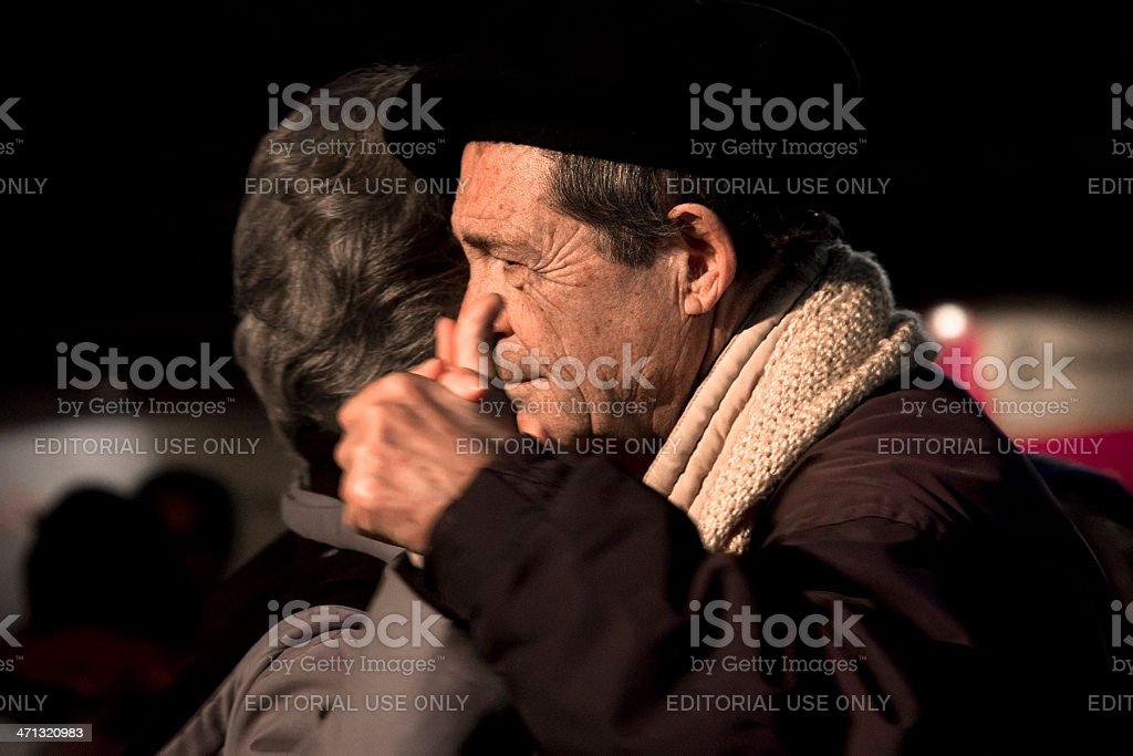 Senior couple, dancing tango. stock photo