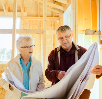 594910248 istock photo Senior couple discussing the plans of their new home 187462240
