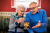 istock Senior couple do not have money for savings 1044748534