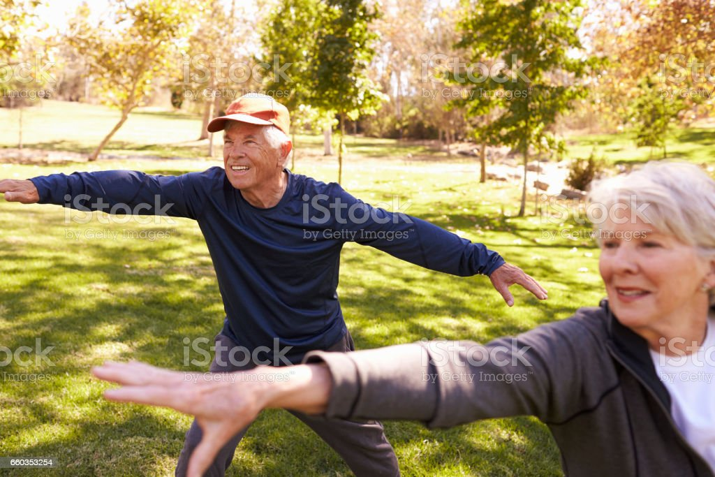 Senior Couple Doing Tai Chi Exercises Together In Park stock photo