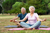 istock Senior couple doing yoga 1029349694