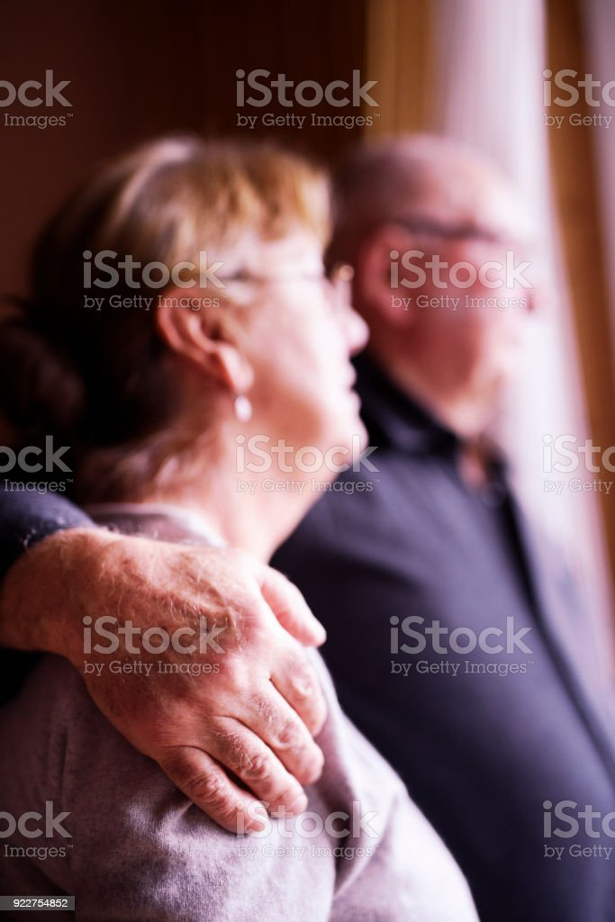 Senior couple embracing each other stock photo