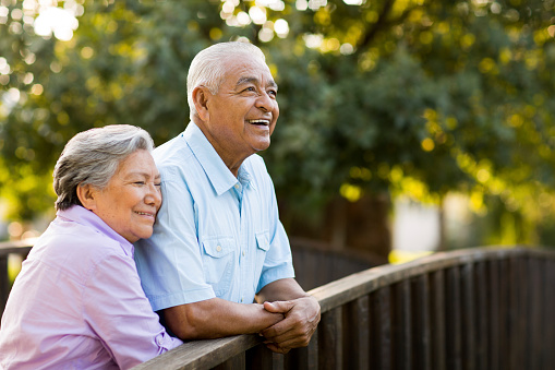 Senior couple enjoy afternoon on bridge