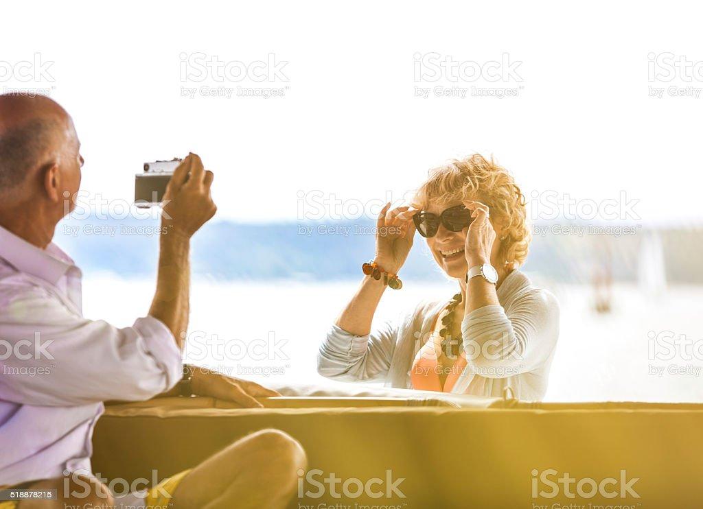Senior couple enjoy at the holidays stock photo