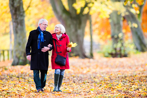 Senior Couple Enjoying Autumn Walk
