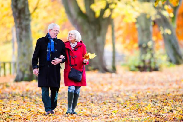 Senior Couple Enjoying Autumn Walk stock photo