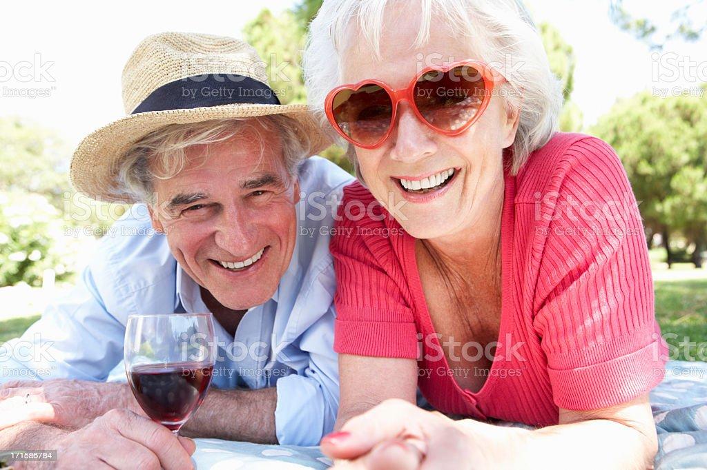 Senior Couple Enjoying Picnic Together stock photo
