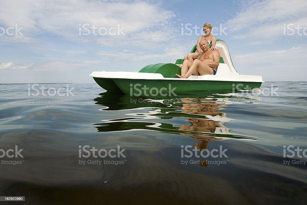 senior couple enjoying summer stock photo
