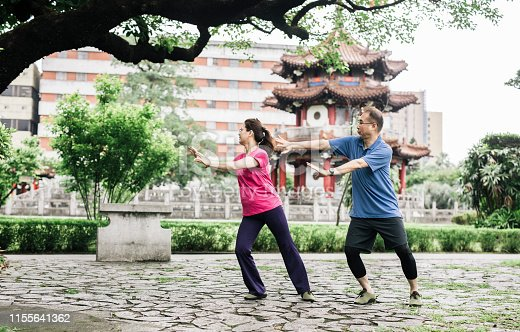 Full length of senior couple exercising Tai Chi. Elderly man and woman are doing sports training together. They are in park.