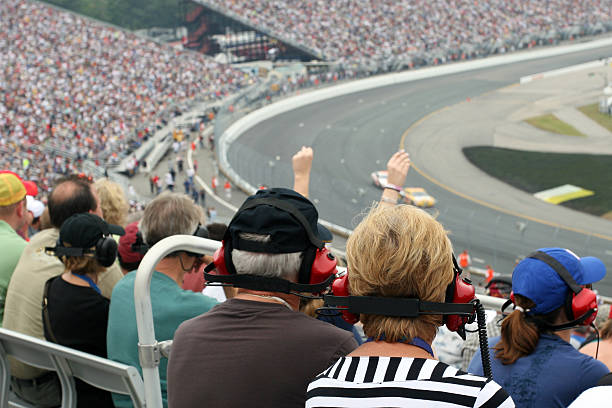 Senior Couple Fans at Racing Event stock photo