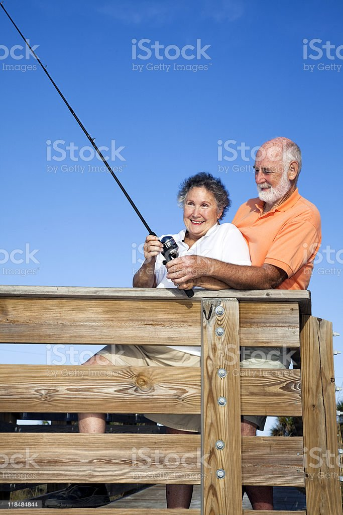 Senior Couple - Fishing Fun royalty-free stock photo