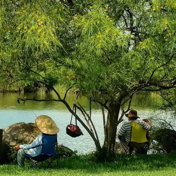 Senior Couple Fishing on the Bayou stock photo