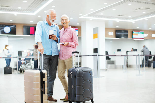 Senior couple going for a vacation. stock photo