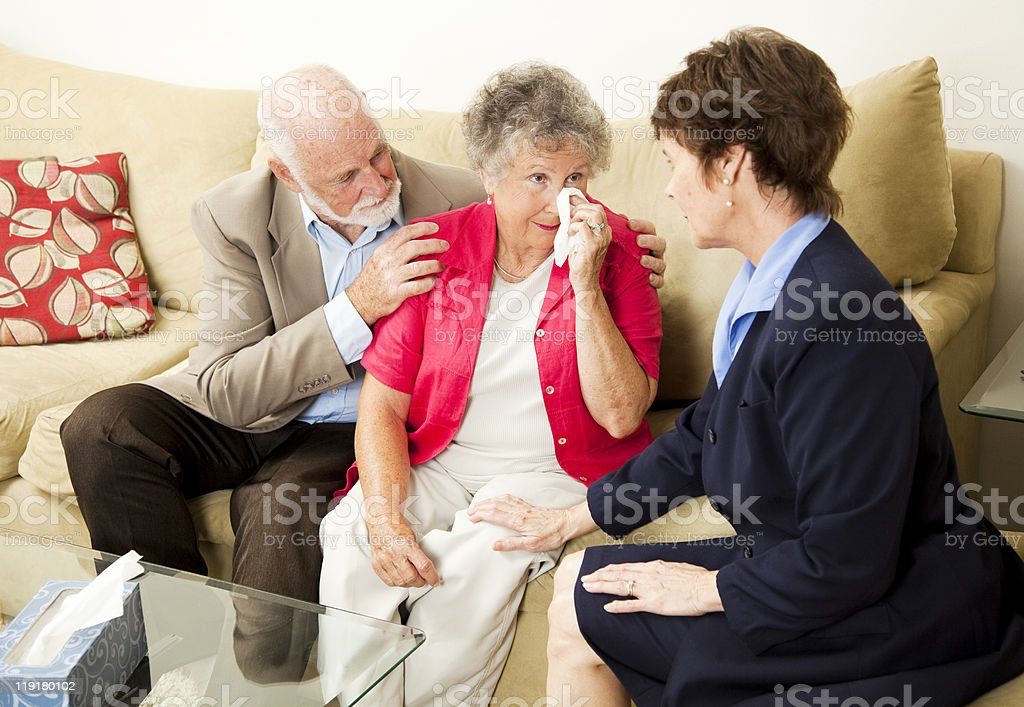 Senior Couple Grief Counseling royalty-free stock photo