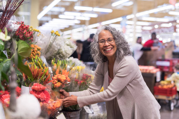 Senior Couple Grocery Shopping Together stock photo