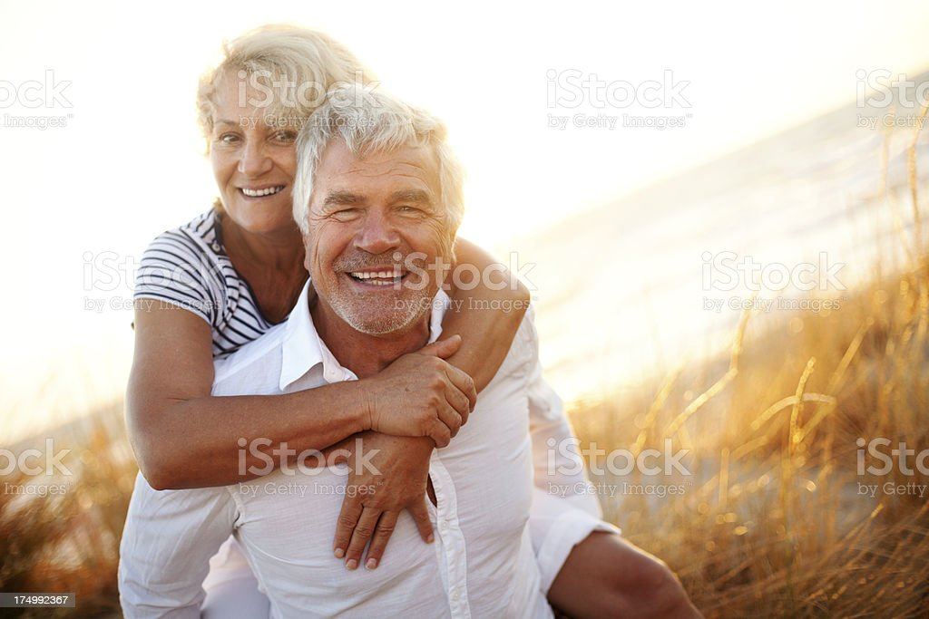 Senior couple having fun outdoors royalty-free stock photo