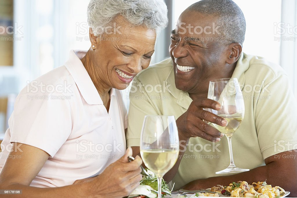Senior Couple Having Lunch At A Restaurant royalty-free stock photo