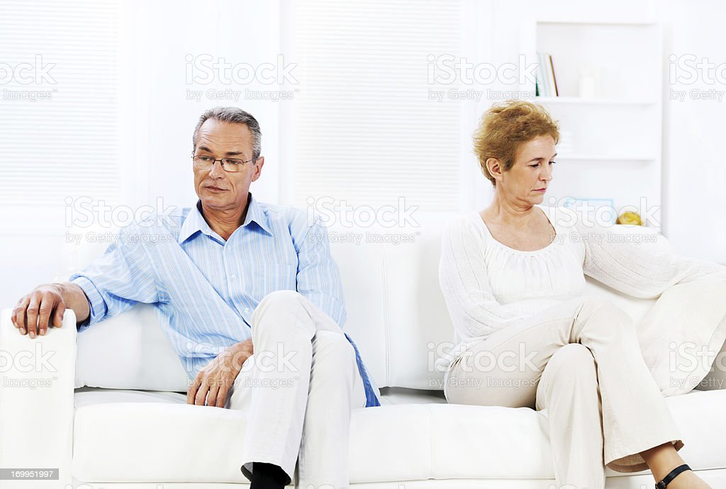 Senior couple having relationship crisis royalty-free stock photo