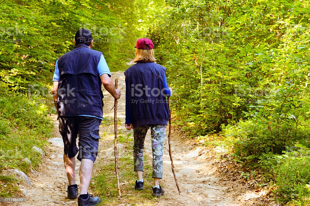Senior Couple Hiking in a Forest royalty-free stock photo