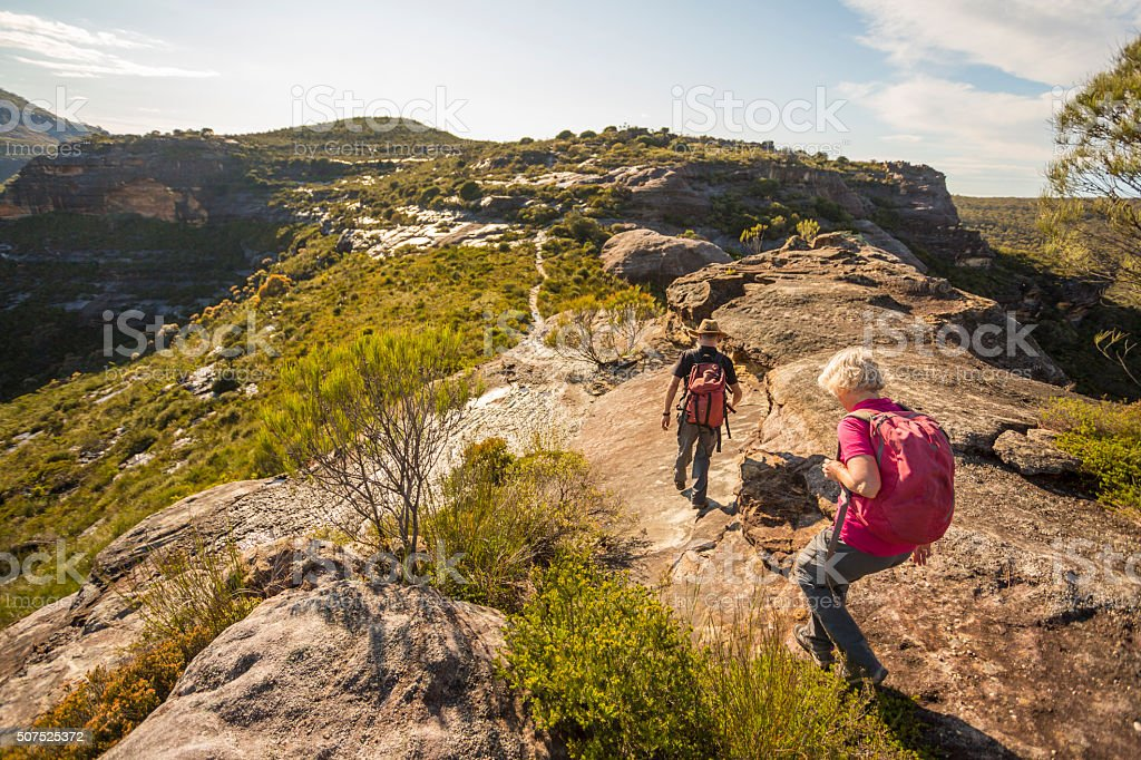 Senior Couple Hiking in Spectacular Blue Mountains Australian Landscape stock photo