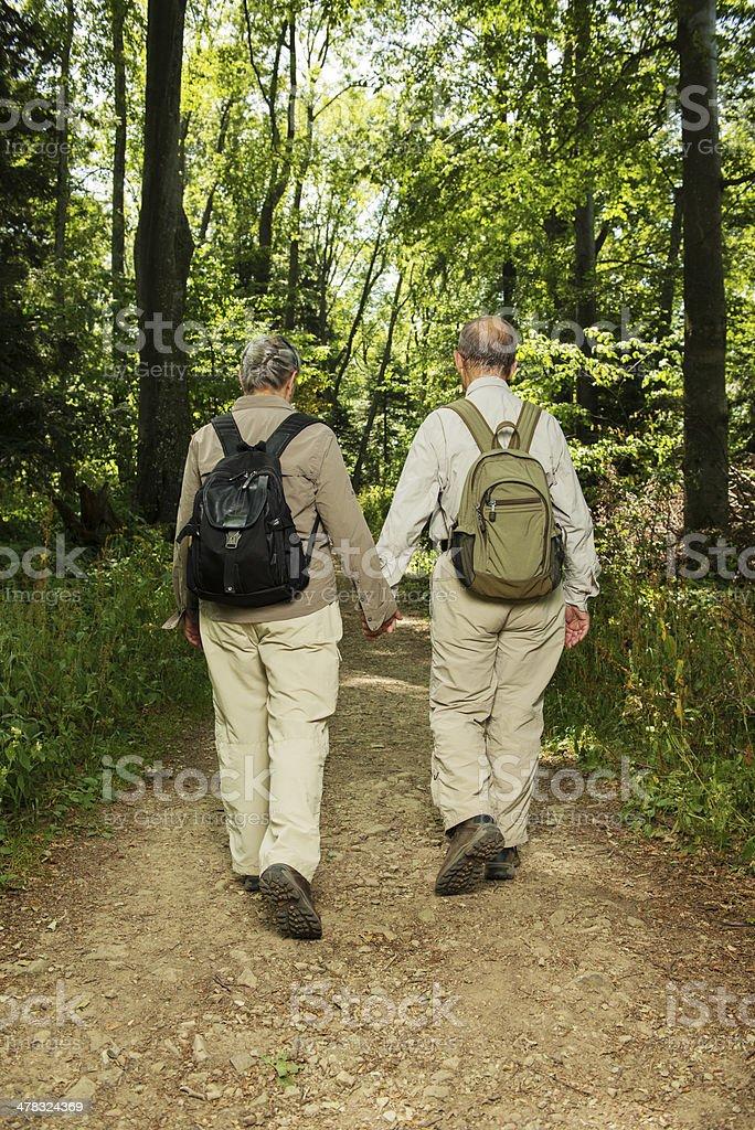 Senior Couple Hiking Rear royalty-free stock photo
