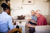 istock Senior couple home mental health therapy 1270206101