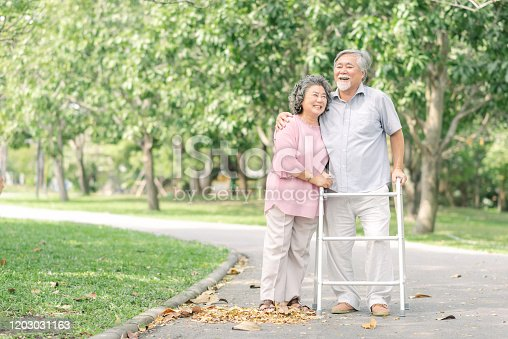 Happy loving Asian senior couple hugging and talking a walk with walker in the park