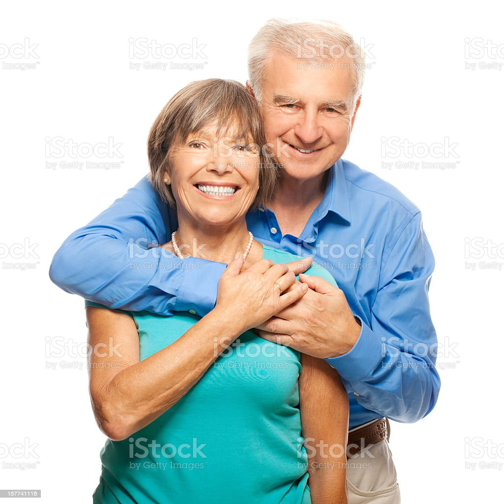 Senior couple hugging royalty-free stock photo